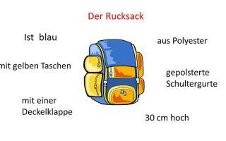 Описание предмета на немецком языке. перечень нужных слов.