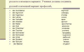 Профессии на немецком языке