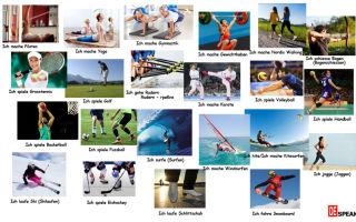 Спорт на немецком языке.виды спорта, как называются спортсмены